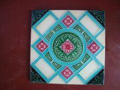 vintage Japanese H.R.S .artnouveau tile . ... . Old & Original