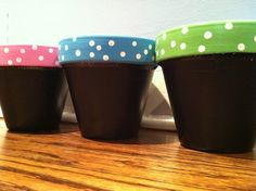 Three clay pots, painted with chalkboard paint {!!!}, and decorated in my favorite classroom colors!!  Jenny figured that since I craft a lot with my kiddos I could put them to good use and she was RIGHT!!  And the chalkboard paint allows me to change how I label them.
