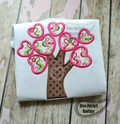 Heart Tree Applique - 5 Sizes! | What's New | Machine Embroidery Designs | SWAKembroidery.com Beau Mitchell Boutique