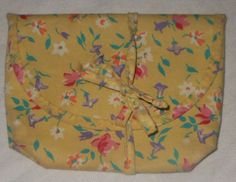 Vintage-Womens-Yellow-Floral-Fabric-Handbag-Purse-Clutch-Vinyl-Lined-7-x-5