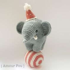 Gustav The Balancing Elephant Amigurumi Pattern by Amour Fou (Free) Crochet Diy, Crochet For Kids, Crochet Dolls, Amigurumi Patterns, Crochet Patterns, Diy Love, Crochet Elephant, Stuffed Animal Patterns, Crochet Animals