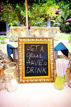 mason jars by wendymd, via Flickr  (pick a jar, write name on tag, take it home at end of wedding!)