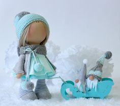 Купить Лолли и гномы - кукла, новогодняя игрушка, бирюза, гном, кукла интерьерная, кукла текстильная