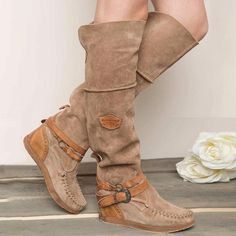 MoneRffi Women Boots Over The Knee Boots High Boots Flat Round Toe Winter Women Shoes Buckle Solid Warm Botas mujer Long Boots, Mid Calf Boots, Knee High Boots, Over The Knee Boots, Wedge Heel Boots, Flat Boots, Heeled Boots, Suede Boots, Moccasin Boots