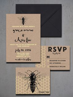 Vintage Honey Bee Wedding Invitations  Honey by HeartwoodPaperie
