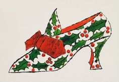 Andy Warhol, Christmas shoe, 1950s!!! Bebe'!!! Love this holiday print!!!