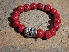 Skull Red Lava Bead Bracelet by StringofLove on Etsy, $16.00