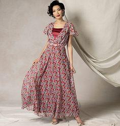 Misses' Flutter-Sleeve Dress, Belt and Slip