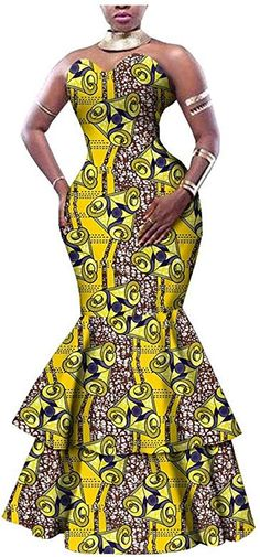 African Dresses for Women Party Wear for Girls Women Wax Print Sexy Gown Cocktail Mermaid Ruffles 473 L African Party Dresses, African Wedding Attire, Latest African Fashion Dresses, African Dresses For Women, African Print Fashion, African Attire, Ankara Fashion, Ankara Long Gown Styles, Africa Dress