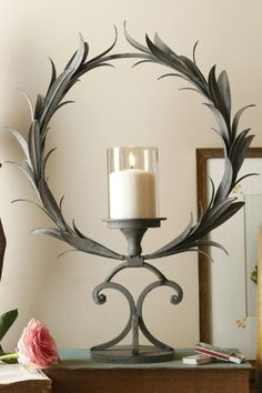 Wreath Candle Holder - Iron & Glass Candle Holders | Soft Surroundings