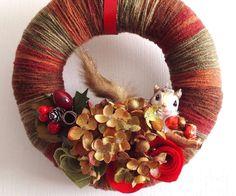 Fall Wreath, Christmas Squirrel Yarn Wreath Rustic Handmade Wall Decor, Berries, Hydrangeas, Felt Roses - Red Green Copper Holiday Decor