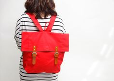 Handmade backpack Marine lover collection  red by blissfullyshop