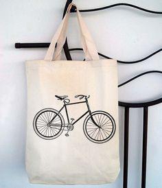 Bicycle Canvas Tote Bag Cool Bike Screen Print by SamsaraPrints, $15.00