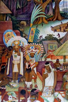 Diego Rivera mural in the National Palace, Mexico City Depicts Zapotec and Mixtec culture in Oaxaca in pre-hispanic times. Diego Rivera Art, Diego Rivera Frida Kahlo, Mexican Artists, Mexican Folk Art, Arte Popular, Mural Painting, Painting & Drawing, Encaustic Painting, Paintings