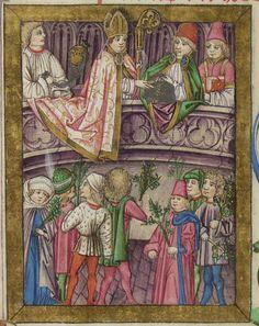 Aschaffenburg Ms. 12, fol 149r Pontifikale für den Erzbischof von Mainz, Adolf II. Entstanden zwischen 1466 und 1470. Dem Meister der Gauklerszene im Hausbuch zugeschrieben und daher wichtig für die Datierung des Wolfegger Hausbuchs.