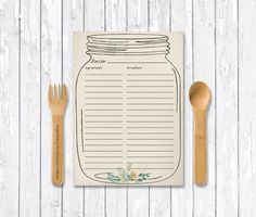 Mason Jar Recipe Card Printable Bridal Shower Digital File