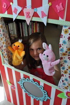 Puppet Theater Tutorial - this is made from an Elmer's Tri-Fold Foam Display Board!!  CUTE!