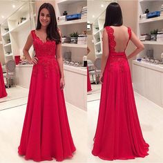 Free Shipping Open Back Red Lace Prom Dress 2016, V-neck Graduation Dress,Sexy Backless Evening Dress,Red Lace Occasion Dress