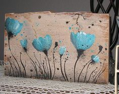 Poppies Picture Hand Painted Turquoise Canvas Primitive Painting