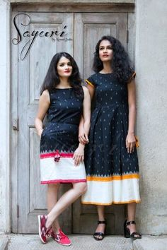 Black ikat dress with a white border. Kalamkari Dresses, Ikkat Dresses, Frock Dress, Saree Dress, Casual Frocks, Casual Dresses, Girls Dresses, Summer Dresses, Frock Fashion