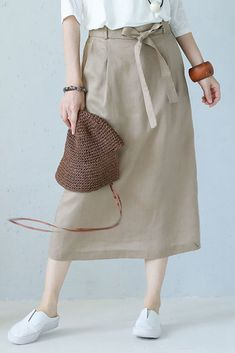 Summer Casual Long Skirt Linen Clothes For Women Q1187