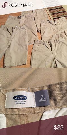 🔥MARKDOWN🔥5 pairs of khaki uniform shorts Khaki, adjustable waist uniform shorts Old Navy Bottoms Shorts