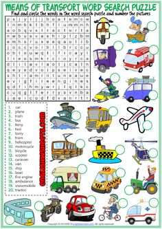 Means of Transport ESL Word Search Puzzle Worksheet Writing Practice For Kids, Vocabulary Games For Kids, Vocabulary Worksheets, Vocabulary Cards, English Teaching Materials, English Writing Skills, English Lessons, Transportation Worksheet