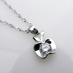 Korean Style Apple Shaped Rhinestone Inlay Pendant Silver Plated Necklace Without Chain Charming Jewelry #Affiliate