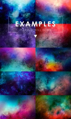 10 Unique hand made watercolor space backgrounds - Very easy to edit PSD files, on&off stars, paper texture, different elements, change colors, etc. Everything are under your control!
