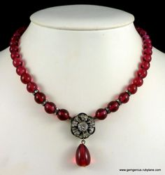 Rousselet Cranberry Glass Beads and Rhinestone Necklace