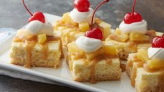 We're officially declaring these bars the must-make sweet of spring, summer and every season in between! If the layer of creamy pineapple cheesecake and brown butter glaze weren't enough, the whipped topping and literal cherry on top make this an irresistible spin on your favorite pineapple upside-down dessert.