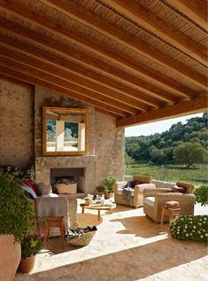 A Majorcan house (Spain) Design Exterior, Interior And Exterior, Exterior Gris, Cafe Exterior, Cottage Exterior, Interior Modern, Outdoor Rooms, Outdoor Living, Outdoor Decor