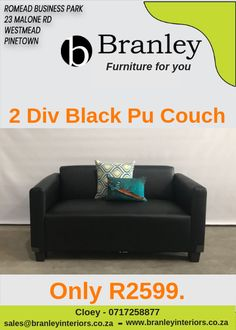 2 Div Pu Black couch Fixed back seats Only Furniture For You, Quality Furniture, Black Couches, Lounge Suites, Wholesale Furniture, Back Seat, Ottoman, Armchair, Sofa