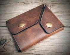 Cartera minimalista de cuero marrón, cartera pequeña, abrigo monedero, monedero bolsillo delantero, bolsa cartera, monedero, billetera los hombres Snap