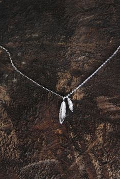Two Tiny Feathers Delicate Necklace