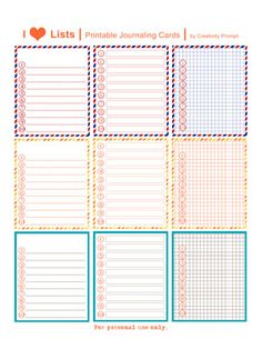 Free lists printable Journaling cards