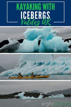 Head to Valdez Alaska for summer adventure! Trips through Prince William Sound will let you kayak near ice and waterfalls by Columbia Glacier. You won't want to miss this guide on kayaking near icebergs! via @thegirlandglobe
