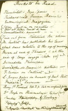 Charles Darwin's reading list...