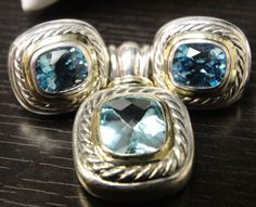 Older Style David Yurman Earrings and Pendant, Silver and Gold w/ Blue Gemstones