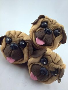 Pug Face Cupcake Topper Tutorial | Fondant Cupcake Ideas