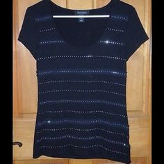 Black rayon tee with rhinestone stripes. Black rayon tshirt with rhinestone stripes.  Shirt can be worn dressy or casual.  This looks great with the white and black striped open front cardigan that I also have for sale White House Black Market Tops