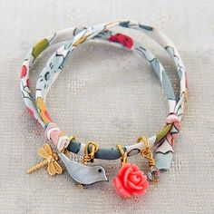 bird charm liberty print bracelet by daniela sigurd jewellery | notonthehighstreet.com