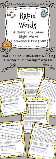 Rapid Word is a complete fluency homework program designed for beginning readers in early elementary grades. A COMPLETE HOMEWORK PROGRAM FOR THE WHOLE YEAR! I have even added an editable parent letter explaining the homework and an editable template. Rapid Word's goal is to increase a student's reading fluency of basic sight words by repeated exposure and practice. $