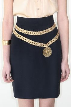 was 260 now 195 adorable vintage 1980's MOSCHINO COUTURE couture gold chain skirt