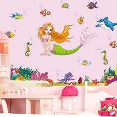 Sea #world The Little #mermaid Wall Sticker Pvc #mural Decal Kids Girls Room