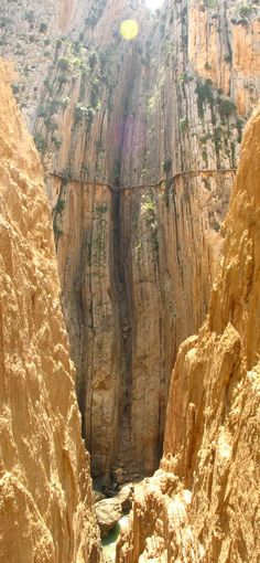 El Camino del Rey (King's pathway) - Málaga, Spain. The walkway is one metre (3 feet and 3 inches) in width, and rises over 100 metres (350 feet) above the river below.