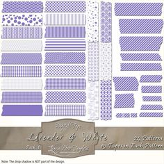 360 pieces of lavender & white Digital Tape (24 patterns in 15 different sizes) Files are PNG with a transparent background.  The tapes are great for blogging, scrapbooks, cards, invitations, and more... $4.75 #digital, #tape, #washi, #patterns, #chevron, #checks, #stripes, #polka dots, #damask, #Moroccan, #argyle, #purple, #white, #scrapbooking, #cards