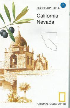 Vintage National Geographic Map California Nevada Close-Up USA