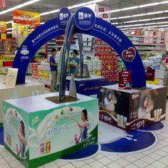 OEM design UV coating Corrugated paper Cardboard Pallet Display case for milk