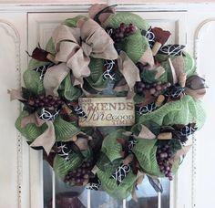 Wine Lovers Deco Mesh and Burlap Wreath by MurryLaneMemories
